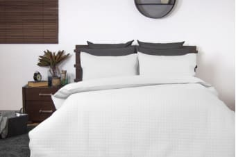 Ardor Boudoir Quilted Quilt Cover Set (King, White)