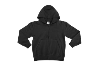 SG Kids/Childrens Unisex Plain Full Zip Hooded Sweatshirt / Hoodie (Black) (11-12)