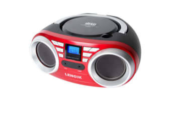 Lenoxx Red Portable Boombox CD CD-R/CD-RW Player Speaker/FM radio/Aux in 3.5mm