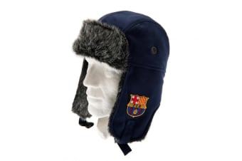 FC Barcelona Official Adults Unisex Jersey Trapper Hat (Blue/Grey) (One Size)