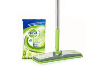 Dettol Floor Cleaning System Kit/Antibacterial Disinfectant Wet Wipes/Pads & Mop