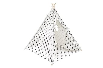 4 Poles Teepee Tent with Storage Bag (Black/White)