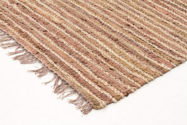 Bondi Leather and Jute Rug Brown 300x80cm