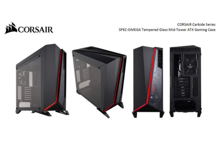 big sale 7bb86 0b0e7 Corsair Carbide SPEC-OMEGA Mid-Tower Tempered Glass Gaming Case, Black and  Red
