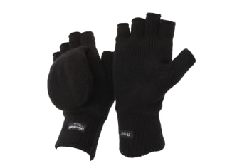 FLOSO Unisex Mens/Womens Thinsulate Thermal Capped Winter Fingerless Gloves (3M 40g) (Black)
