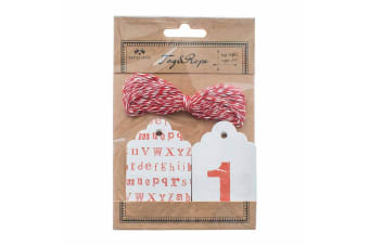 Letters & Numbers Gift Tags (Red/White) (10 x 15.5 x 0.9cm)