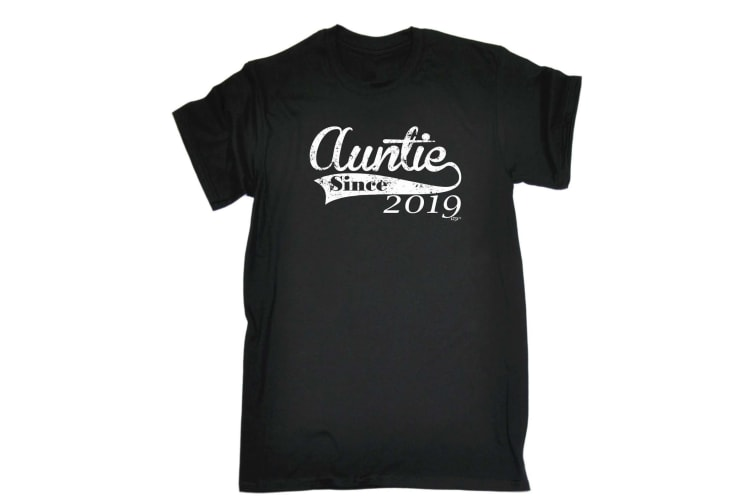 123T Funny Tee - 219 Auntie Since - (Small Black Mens T Shirt)
