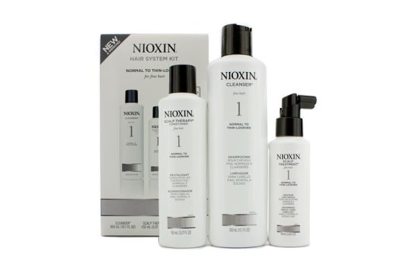 Nioxin System 1 Starter Kit For Fine Hair, Normal to Thin-Looking Hair: Cleanser 300ml + Scalp Therapy Conditioner 150ml + Scalp Treatment 100ml (3pcs)