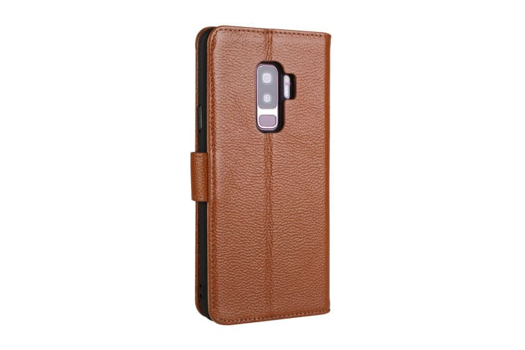 For Samsung Galaxy S9 Case Fashion Wallet Cowhide Genuine Leather Cover Coffee
