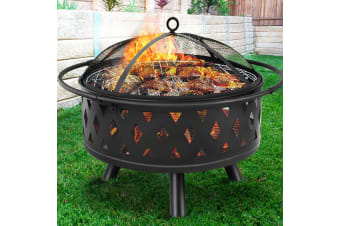 """Grillz 32"""" Portable Outdoor Fire Pit Ring BBQ Grill Wood Fireplace Patio"""