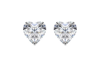 Women 18K White Gold Plated 10mm Heart Solitaire Earrings w/Swarovski Crystal