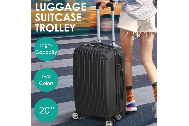 """20"""" Cabin Luggage Suitcase Code Lock Hard Shell Travel Case Carry On Bag Trolley  -  Black"""