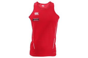 Canterbury Mens Team Dry Sleeveless Singlet Sports Vest (Red/White)