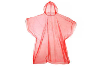 Hooded Plastic Reusable Poncho (Red) (One Size)