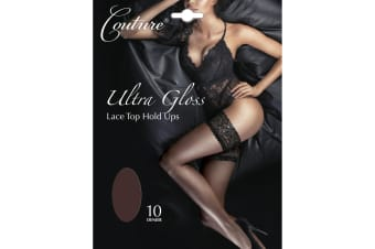 Couture Womens/Ladies Ultra Gloss Lace Top Hold Ups (1 Pair) (Barely Black)