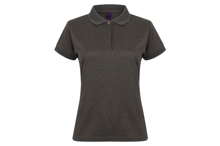 Henbury Womens/Ladies Coolplus® Fitted Polo Shirt (Heather Charcoal) (S)