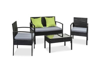 Saipan 5 Piece Outdoor Patio Set (Black/Grey)