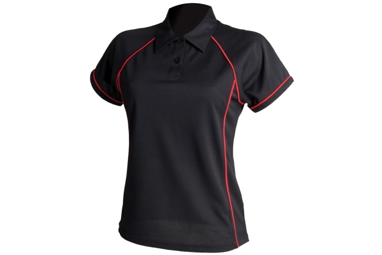 Finden & Hales Womens Coolplus Piped Sports Polo Shirt (Black/Red) (2XL)