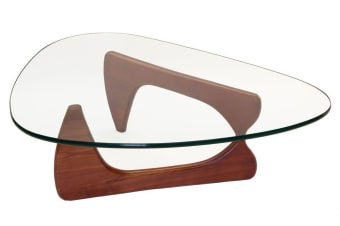 Replica Isamu Noguchi Glass Coffee Table | Walnut