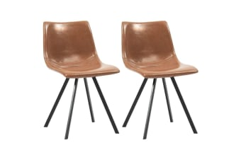 vidaXL Dining Chairs 2 pcs Shiny Brown Faux Leather