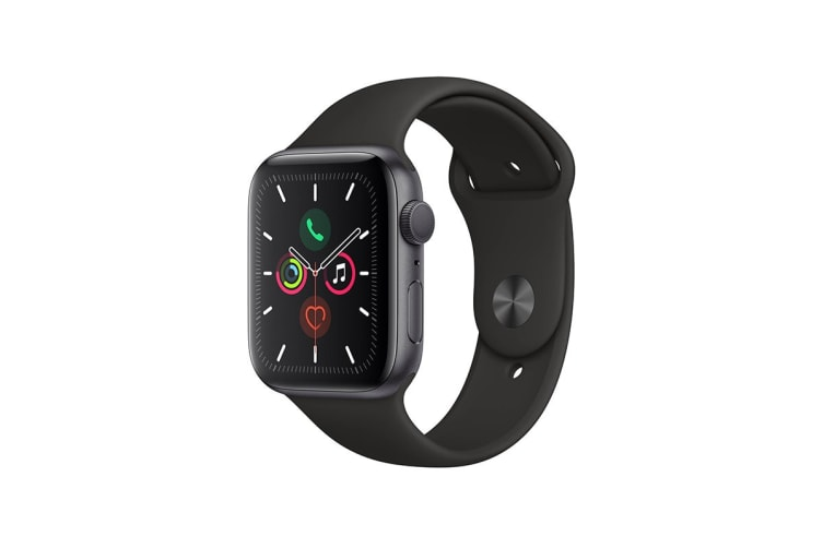 Apple Watch Series 5 (Space Gray Aluminum, 44mm, Black Sport Band, GPS Only)