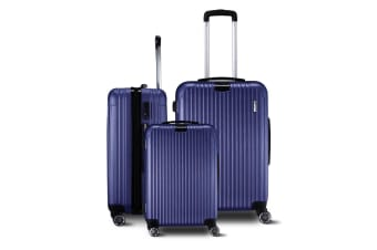 Set Of 3 Lightweight Blue Luggages with Lock