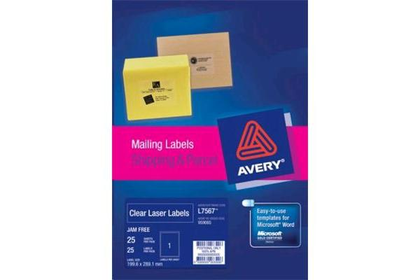 AVERY L7567-25 199.6X289.1MM CRYSTAL CLEAR 25 SHEET