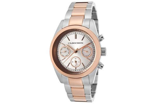 Cabochon Women's De Ce Monde Multi-Function Silver Dial Stainless Steel and Rose Gold Tone Ion Plated (CABOCHON-1131)