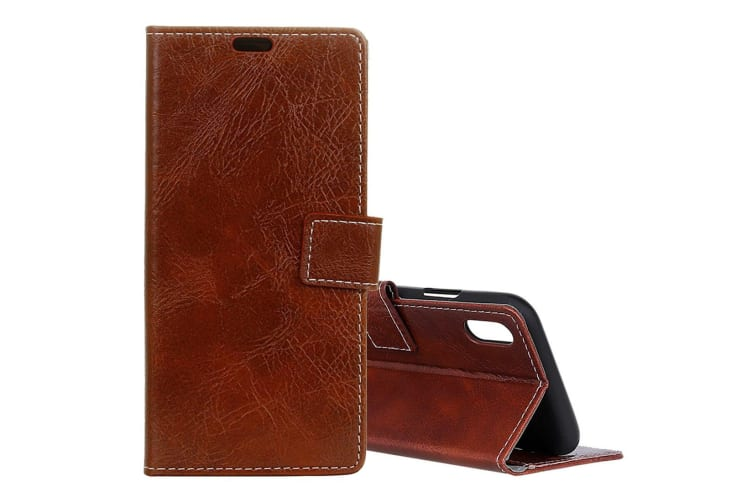 For iPhone XR Case Brown Retro Wild Horse Texture Leather Wallet Cover