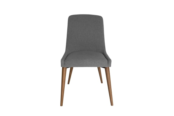 Dakota Dining Chair | Grey Fabric | Walnut Legs