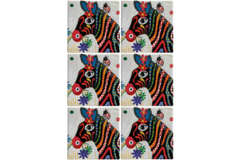 6pc Maxwell & Williams Smile Style Ceramic Tile Coaster Stripes 9cm Placemat
