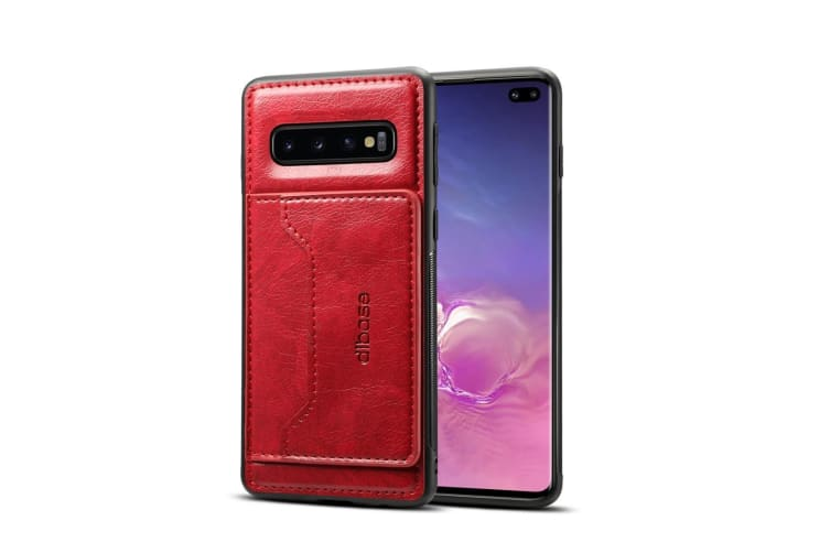 For Samsung Galaxy S10+ Plus Case  Red Horse Texture PU Leather Wallet Cover