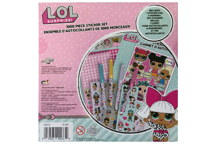 1000pc LOL Surprise Stickers Set Arts/Crafts Notebook/Pad/Markers Kids/Girls 3y+