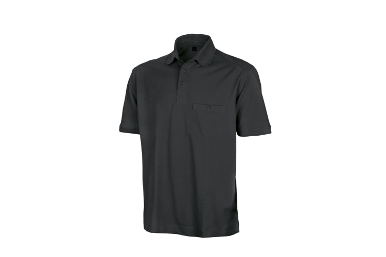 Result Mens Work-Guard Apex Short Sleeve Polo Shirt (Black) (XL)
