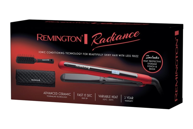 Remington Radiance Ionic Straightener Pack with Brush & Pouch (S7710RAU)