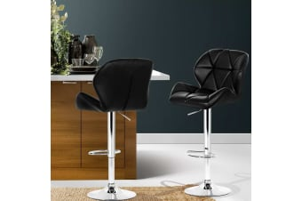 Artiss 2 x Kitchen Bar Stools Swivel Bar Stool Leather Gas Lift Chairs Black