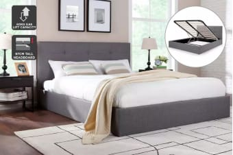Ovela Bed Frame - Calabria Gas Lift Collection (Grey, King)