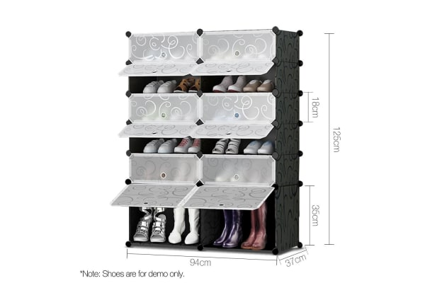 12 Shoe Stackable Compartments  with Boot Storage (Black)