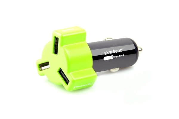 mbeat4.8A/24W Triple Port Car Charger - Green (CHGR348-GRN)