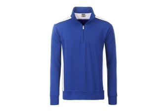 James and Nicholson Unisex Workwear Half-Zip Sweat Level 2 (Royal Blue/White) (3XL)