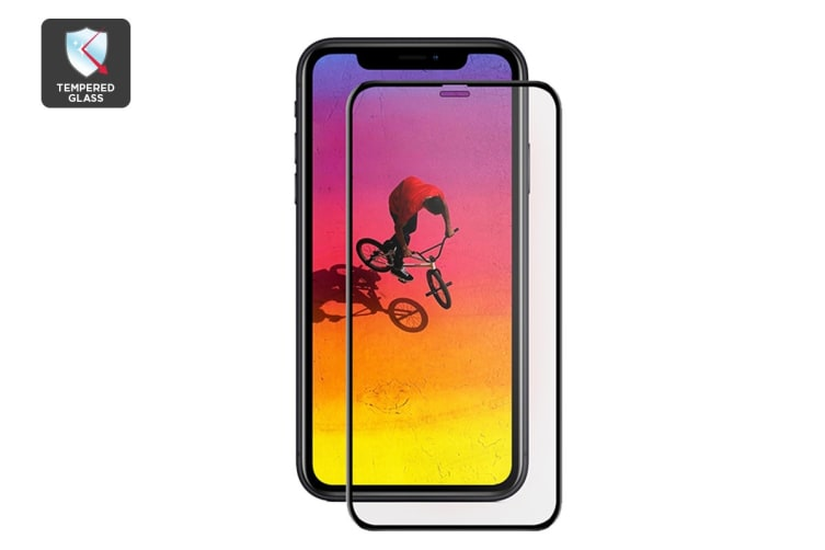 iPhone XR 3D Gummed Full Cover Tempered Glass Screen Protector Black with Installer