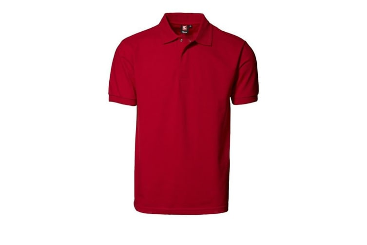 ID Mens Pro Wear Press Stud Regular Fitting Short Sleeve Polo Shirt (Red) (5XL)