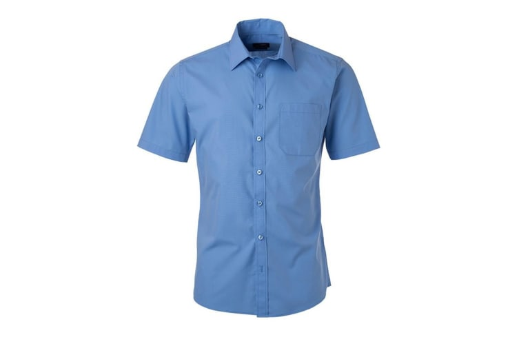 James and Nicholson Mens Shortsleeve Poplin Shirt (Aqua Blue) (XXL)