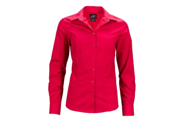 James and Nicholson Womens/Ladies Longsleeve Business Shirt (Red) (XL)
