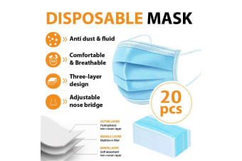 20Pcs Disposable Face Mask Protective Masks 3 layer Meltblown Filter for General Purpose
