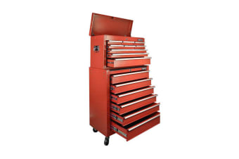 Giantz 15 Drawers Mechanic Toolbox Storage Chest Cabinet Garage Trolley Tool Box Red