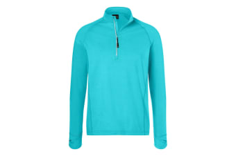 James and Nicholson Mens Half Zip Sports Top (Turquoise) (L)