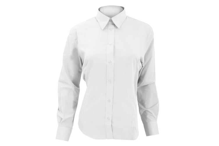 Kustom Kit Ladies Long Sleeve Workforce Shirt (White) (12)