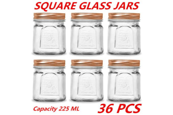 36 x 225ml Square Vintage Glass Jar Rose Gold Lid Kitchen Food Storage Jars Canister