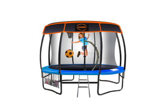 Kahuna Trampoline 8 ft with Basketball set and Roof - Blue